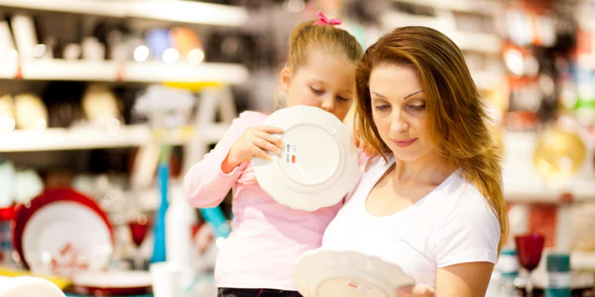Photo of a mother and daughter shopping