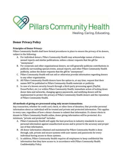 Donor Privacy Policy Thumbnail