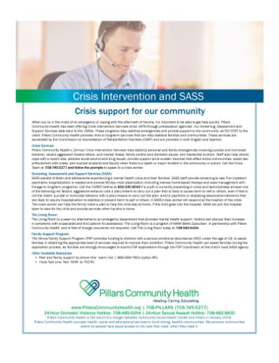 Marketing Flyer - Crisis Intervention and SASS