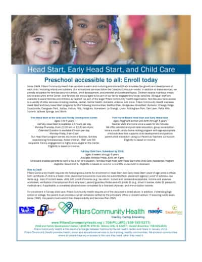 Marketing Flyer - Head Start, Early Start, and Child Care