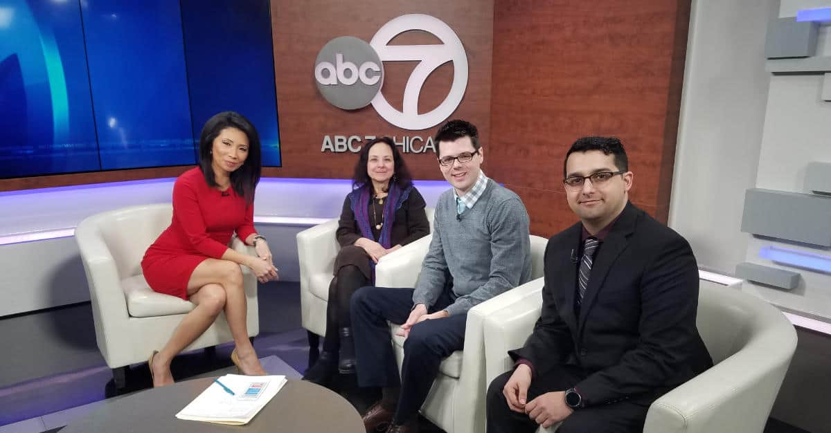 Photo of Pillars Community Health staff members on set with ABC 7 Chicago