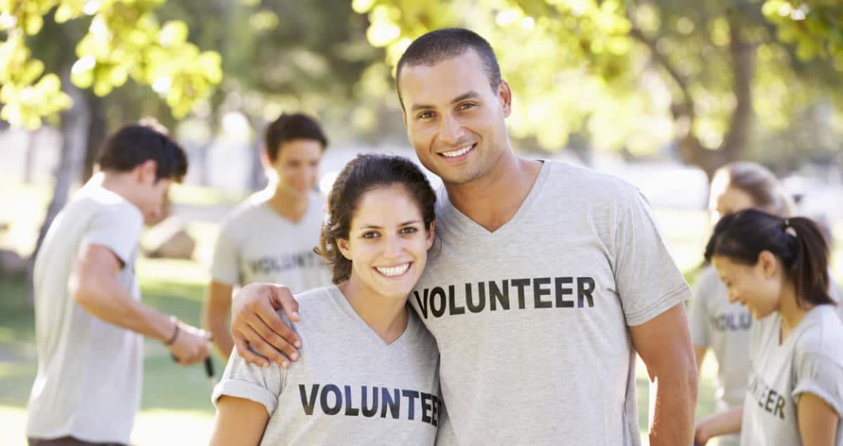Photo of a couple wearing Volunteer shirts