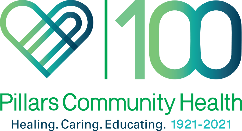 Pillars Community Health 100 year anniversary logo