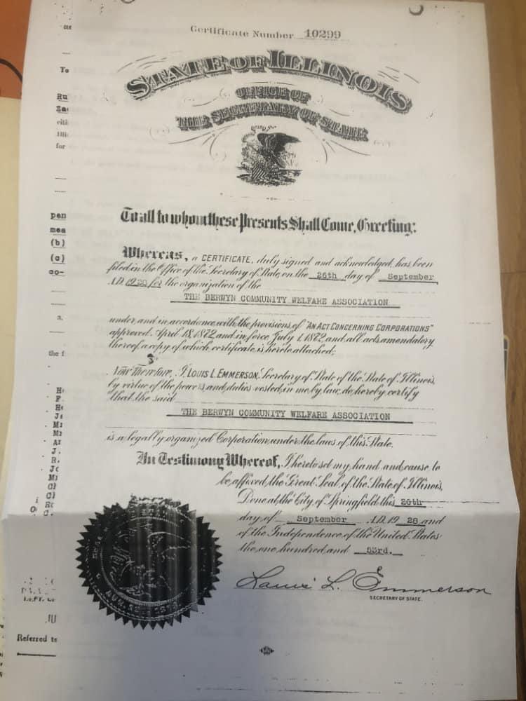 1920 Berwyn certificate